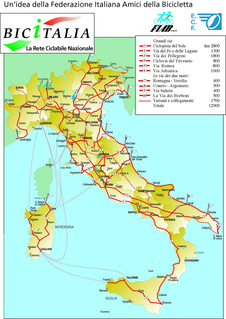 Train Routes In Italy Map.Italian Cycle Network Map Cyclingeurope Org