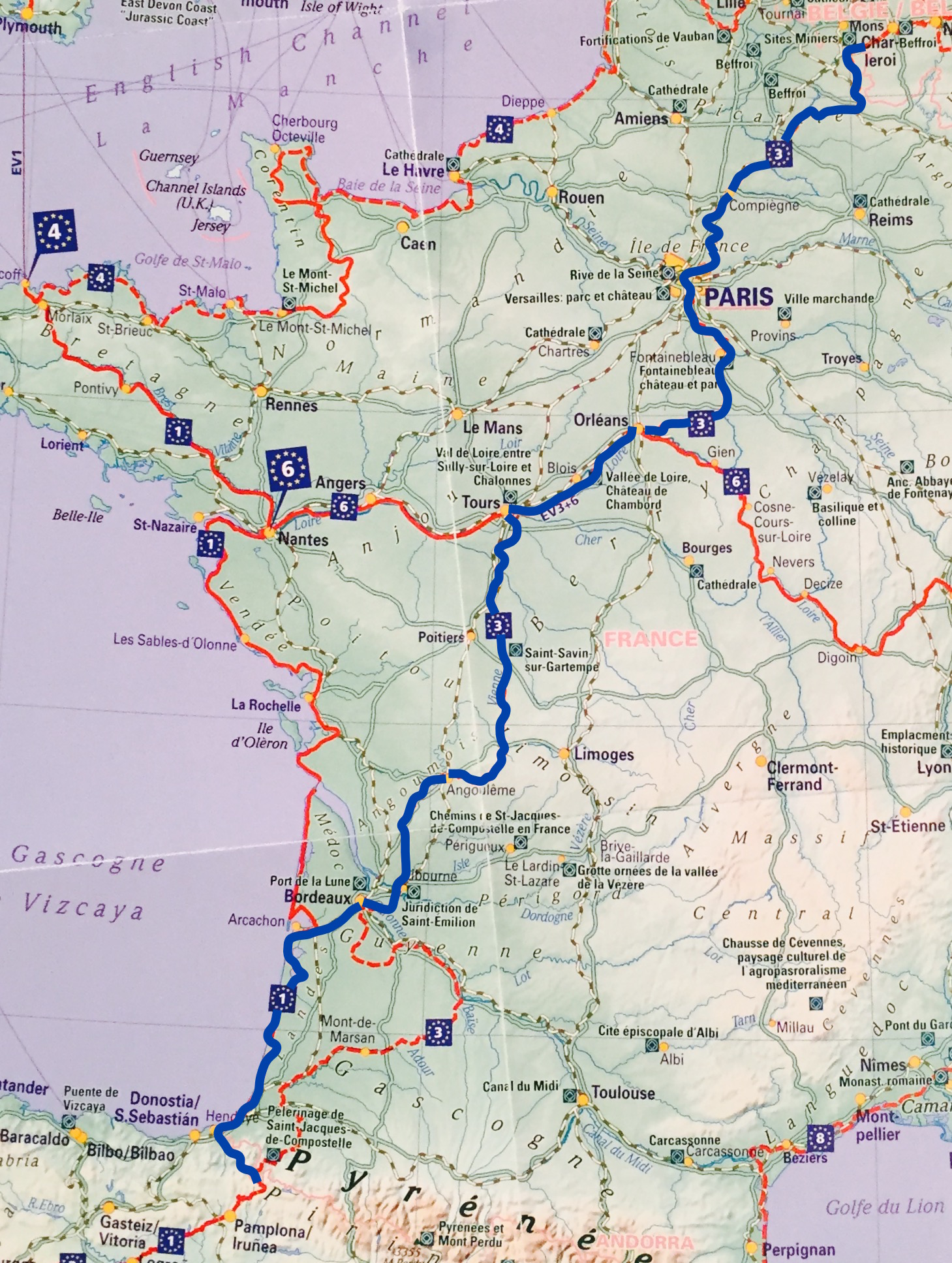 Map Of Southern Spain And France.Cycling In France Cyclingeurope Org