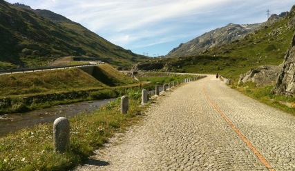 The cobbled road to the Gotthard pass